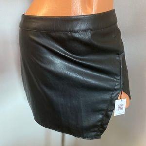 Black Faux Leather Mini Skirt Large